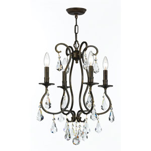Ashton English Bronze Four-Light Chandelier with Hand Polished Crystal