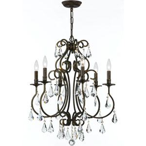 Ashton English Bronze Six-Light Chandelier with Hand Polished Crystal
