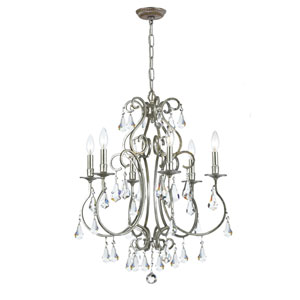 Ashton Old Silver Six-Light Chandelier with Hand Polished Crystal