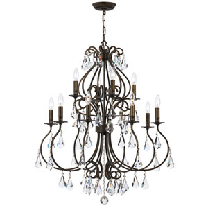 Ashton English Bronze 12-Light Chandelier with Hand Cut Crystal