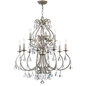 Ashton Olde Silver 12-Light Chandelier with Hand Cut Crystal