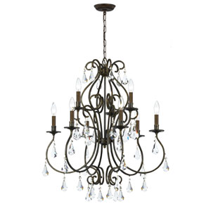 Ashton English Bronze Nine-Light Chandelier with Hand Polished Crystal