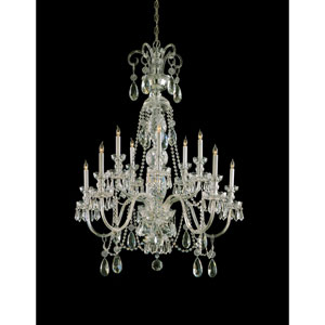 Traditional Crystal Polished Brass Ten-Light Chandelier