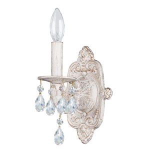 Hampton Antique White Ornate One-Light Wall Sconce Draped with Clear Hand Cut Crystal