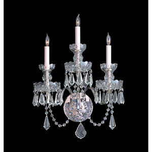 Traditional Crystal Swarovski Strass Crystal Polished Chrome Three-Light Sconce