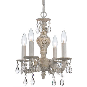 Sutton Antique White Four Light Spectra Crystal Mini Chandelier