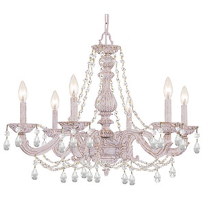 Hampton Antique White Ornate Chandelier Draped with Clear Hand Cut Crystal