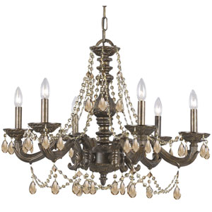 Sutton Venetian Bronze Ornate Chandelier Draped with Golden Teak Crystal