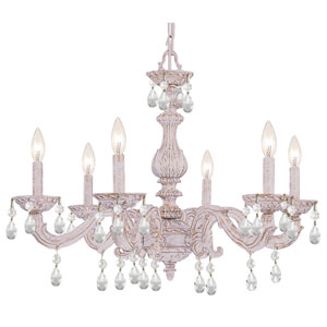 Sutton Antique White Six-Light Chandelier with Hand Polished Crystal