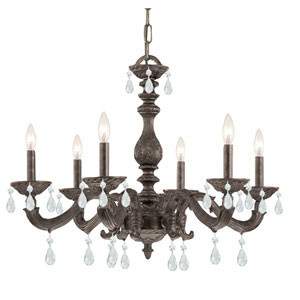 Sutton Venetian Bronze Six-Light Chandelier with Hand Polished Crystal