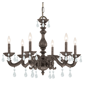 Sutton Venetian Bronze 28-Inch Six Light Swarovski Spectra Crystal Chandelier