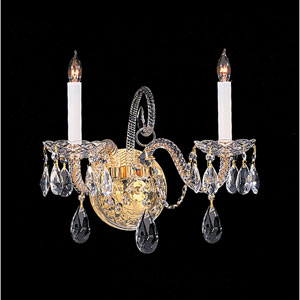 Traditional Crystal Polished Brass Two-Light Crystal Sconce
