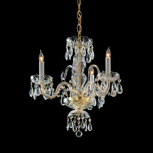 Bohemain Crystal Polished Brass Three-Light Crystal Chandelier