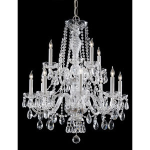 Traditional Polished Chrome Twelve Light Chandelier with Clear Italian Crystal