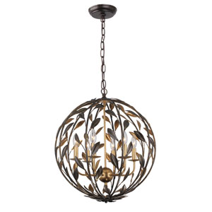 Broche English Bronze Six-Light Chandeliers