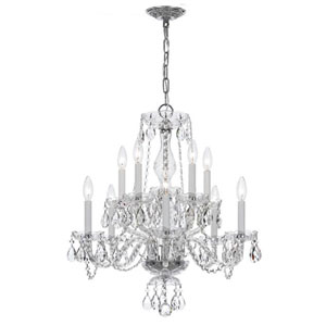 Traditional Crystal Chrome Ten-Light Clear Crystal Chandelier