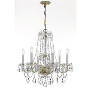 Traditional Crystal Brass Six-Light Spectra Crystal Chandelier