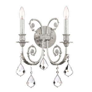 Regis Olde Silver Two-Light Wall Sconce with Swarovski Spectra Crystal