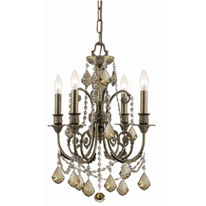 English Bronze Crystal Four-Light Chandelier