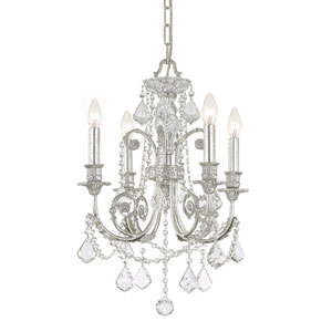 Regis Olde Silver Four-Light Chandelier with Swarovski Spectra Crystal