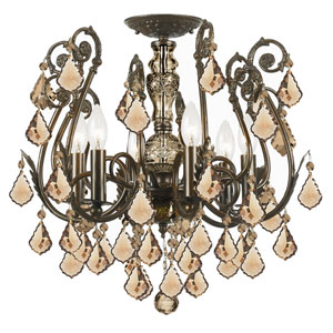 Regis English Bronze Golden Teak Crystal Six-Light Semi-Flush