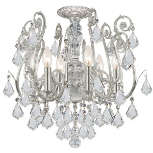Regis Olde Silver Six-Light Semi Flush Mount with Hand Polished Crystal