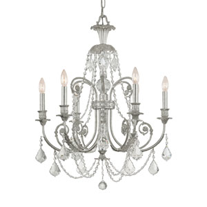 Regis Olde Silver Six Light Chandelier with Clear Italian Crystal