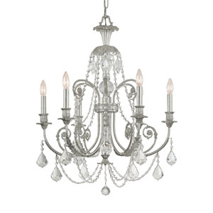 Regis Olde Silver Six-Light Chandelier with Swarovski Strass Crystal