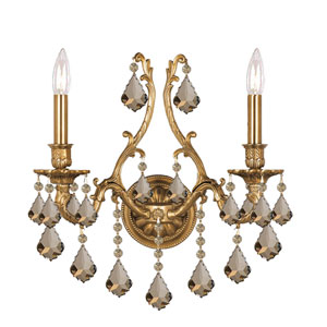 Yorkshire Ornate Aged Brass Two-Light Sconce with Golden Teak Majestic Wood Polished Crystal