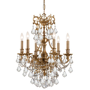 Yorkshire Ornate Aged Brass Six-Light Chandelier with Swarovski Strass Crystal