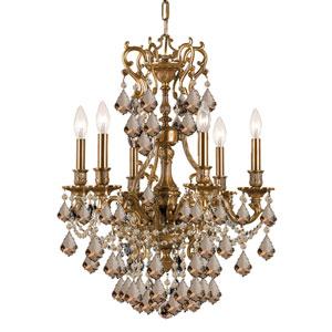 Yorkshire Aged Brass Golden Teak Crystal Six-Light Chandelier