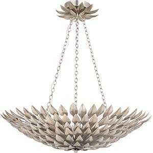 Broche Antique Silver Six-Light Pendant Chandelier