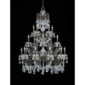 Manchester English Bronze Clear Swarovski Spectra Crystal Twenty-Light Chandelier