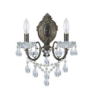 English Bronze Wood Crystal Sconce