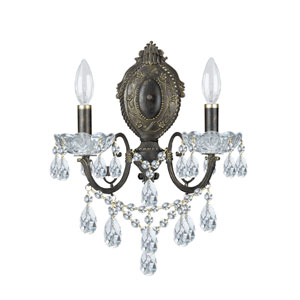 Manchester English Bronze Swarovski Spectra Crystal Two-Light Wall Sconce