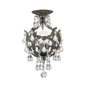 Legacy English Bronze Three Light Semi Flush Mount with Clear Swarovski Strass Crystal