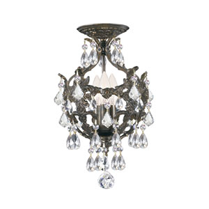 Legacy English Bronze Three Light Semi Flush Mount with Clear Spectra Crystal