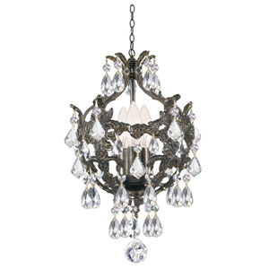 Legacy English Bronze Three Light Chandelier with Clear Spectra Crystal