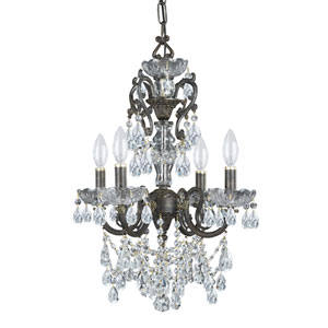 English Bronze Wood Crystal Four-Light Chandelier