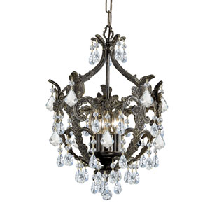 English Bronze Wood Crystal Mini Chandelier