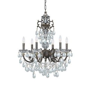 Legacy English Bronze Ornate Six-Light Chandelier with Italian Crystal