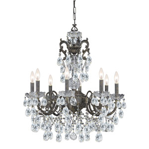 English Bronze Wood Crystal Eight-Light Chandelier