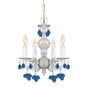 Sutton Wrought Iron Chandelier Draped with Blue Murano Crystal Drops
