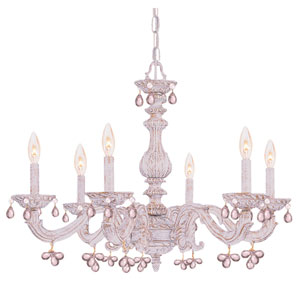 Abbie Antique White Six-Light Murano Crystal Chandelier