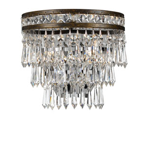 Mercer English Bronze Two Light Hand Cut Crystal Wall Sconce