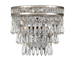 Mercer Olde Silver Two Light Hand Cut Crystal Wall Sconce