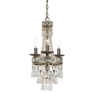 Mercer English Bronze Four-Light Chandelier with Hand Polished Crystal