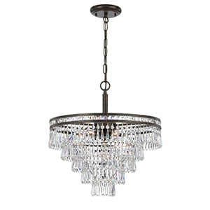 Mercer English Bronze Six Light Hand Cut Crystal Chandelier