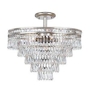 Mercer Olde Silver Seven Light Hand Cut Crystal Semi-Flush