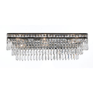 Mercer English Bronze Six Light Hand Cut Crystal Bath Fixture